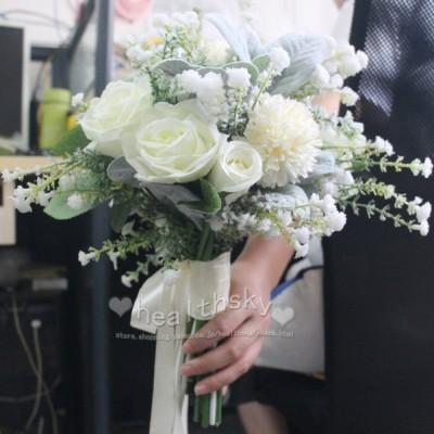 ブーケ花束ウエディングブーケ披露宴結婚式演奏会歓迎会ブライダルブーケ花嫁お祝いウェディング用大人気結婚祝い写真撮り花プレゼント安い