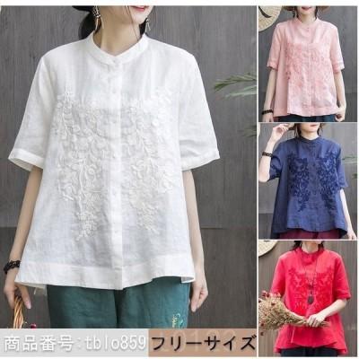シャツレディーストップス半袖ブラウスオフィス夏刺繍綿麻綿混大きいサイズゆったり30代40代コーデ大人カジュアル