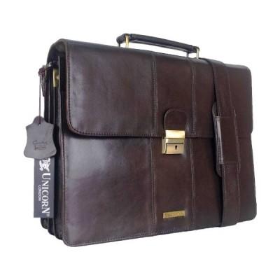 UNICORN Brown Real Leather Bag Business Executive Briefcase Keylock Messenger #3N 並行輸入品