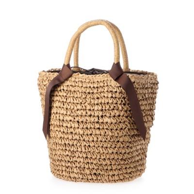 ヴィータフェリーチェ VitaFelice かごバッグ トートバッグ 手編み ポケット付き 夏バッグ (BEIGE)