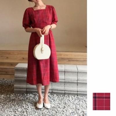 韓国 ファッション レディース ワンピース 夏 春 カジュアル naloA019  スクエアネック バルーンスリーブ クラシカル パーティー オフィ