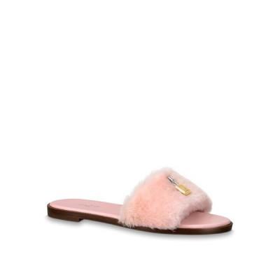 ルイヴィトン LOUIS VUITTON ミュール シューズ 靴 ピンク ゴールド フォックスファー