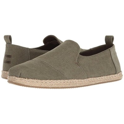 TOMS Deconstructed Alpargata Rope メンズ ローファー Olive Washed Canvas