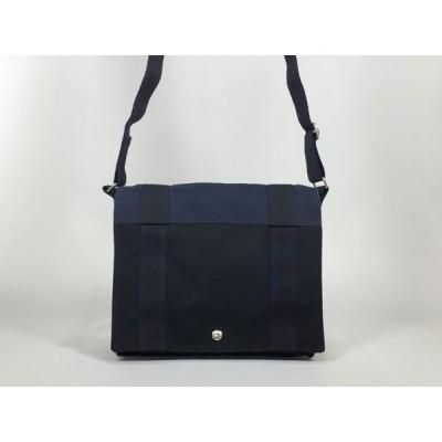 【人気】 HERMES エルメス フールトゥ バサスPM ショルダーバッグ キャンバス 黒×紺 ショルダーバッグ