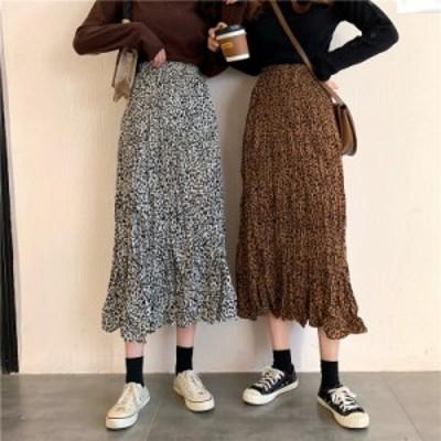 スカート シワ加工 プリーツスカート ロング レオパート マキシスカート ミモレ丈 カジュアルガーリー 双子コーデ