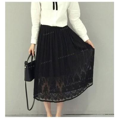スカートロングスカートウエストゴムレースレディース高級感上品ファッション無地刺繍