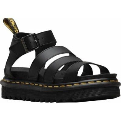 ドクターマーチン レディース サンダル シューズ Women's Dr. Martens Blaire Platform Strappy Sandal Black Hydro PU Coated Leather