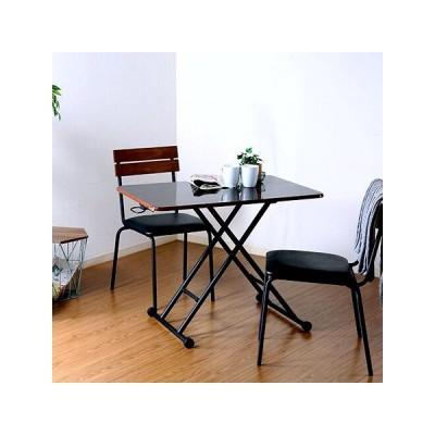ダイニングテーブル 2人 一人暮らし 低い 高さ調整 昇降 折りたたみ パソコンデスク 机 テレワーク 在宅 ローテーブル センター 高い ハイ ブラウン 黒 90×60