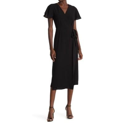 ボベー レディース ワンピース トップス Flutter Sleeve Wrap Midi Dress BLACK