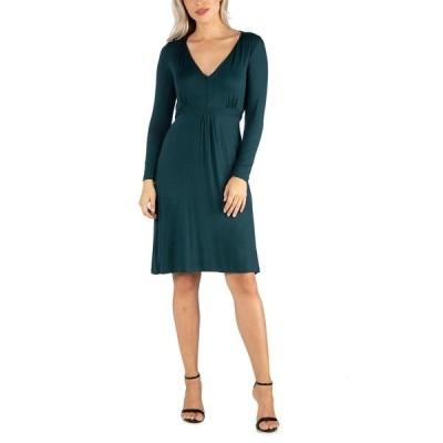 24セブンコンフォート ワンピース トップス レディース Women's V-Neck Long Sleeve Professional Dress Green
