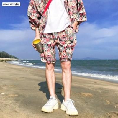 夏季メンズ日系パンツ浴衣着物 プリント部屋着ビーチパンツ速乾薄型ショートパンツ水着温泉 ボトムスアロハ 水陸両用 海水パンツ サーフ