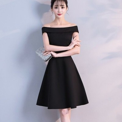 サイズ豊富 ドレス オフショルダー シンプル 上品 無地 結婚式 二次会 パーティー デート お呼ばれ