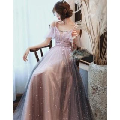吊り風 セクシー バックレス 令和 お呼ばれ 肩出し ウエディングドレス パーティードレス オフショルダー 結婚式ドレス ロング丈 袖あり