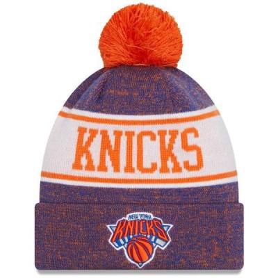ニューエラ 帽子 アクセサリー メンズ New York Knicks New Era Banner Cuffed Knit Hat with Pom Blue/Orange