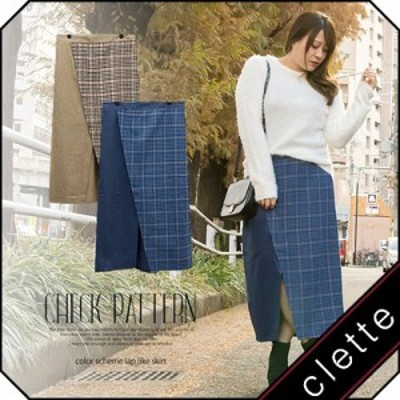 大きいサイズ/レディース/3L/4L/チェック柄配色ラップ風スカート