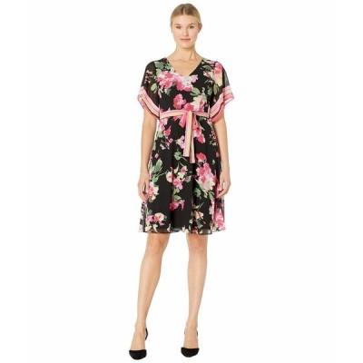 ドナモーガン ワンピース トップス レディース Printed Chiffon Wrap Dress Black/Berry Pink Multi