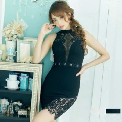 キャバ ドレス ミニドレス セクシードレス 夜ドレス ナイトドレス 水商売 送料無料 送料込み ハイネックデザイン セクシーレーススリット