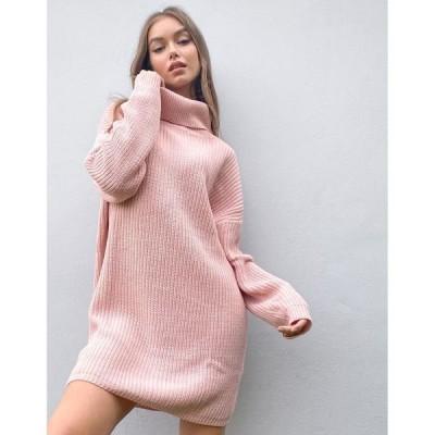 インザスタイル レディース ワンピース トップス In The Style x Billie Faiers oversized roll neck knitted sweater dress in pink Pink