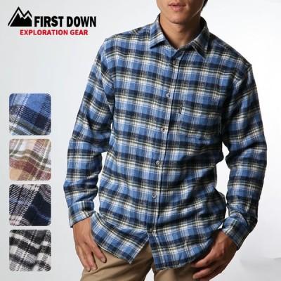 ネルシャツ メンズ 長袖シャツ チェック柄 レギュラーカラー FIRST DOWN EXPLORATION GEAR  グレー ベージュ ブルー ネイビー