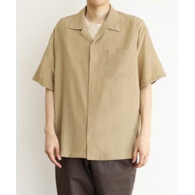 シャツ ブラウス リングボタンオープンカラーシャツ