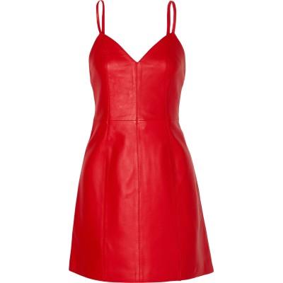ALEXACHUNG ミニワンピース&ドレス レッド 12 革 ミニワンピース&ドレス