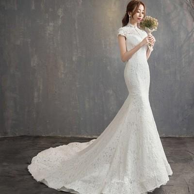 ウェディングドレス マーメイド 大きいサイズ 3l ウエディングドレス 袖あり 白 二次会 花嫁 フィッシュテール 花柄 刺繍 総レース ハイネック