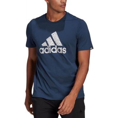 アディダス adidas メンズ Tシャツ トップス Leopard Print Badge of Sport T-Shirt Crew Navy