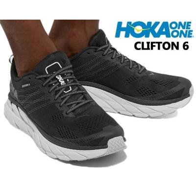 HOKA ONE ONE MENS CLIFTON 6 BLACK/WHITE 1102872 BWHT ホカオネオネ クリフトン 6 スニーカー 厚底 ボリュームミッドソール ブラック ホワイト