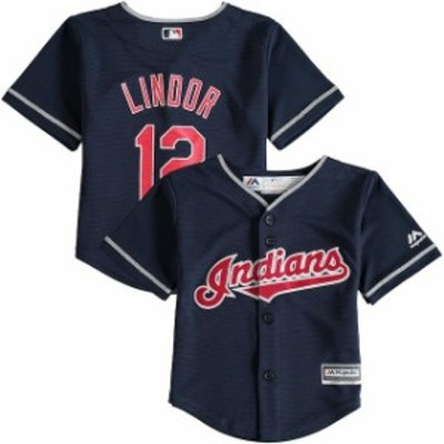 Majestic マジェスティック スポーツ用品  Majestic Francisco Lindor Cleveland Indians Toddler Navy Alternate Official Cool Base Pl
