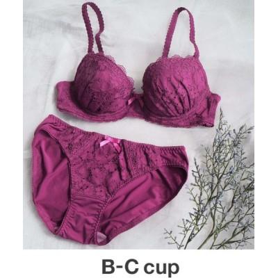 AMPHI / 【ブラ&ショーツ セット】花柄ケミカルレース B-Ccup WOMEN アンダーウェア > ブラ&ショーツ