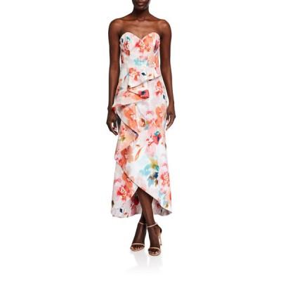 パーカー ブラック レディース ワンピース トップス Lulu Watercolor Floral Strapless Ruffle Dress