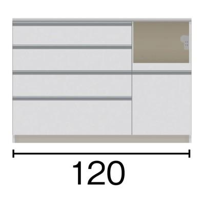サイズが豊富な高機能シリーズ カウンター家電収納 幅120奥行45高さ84.8cm ミギ