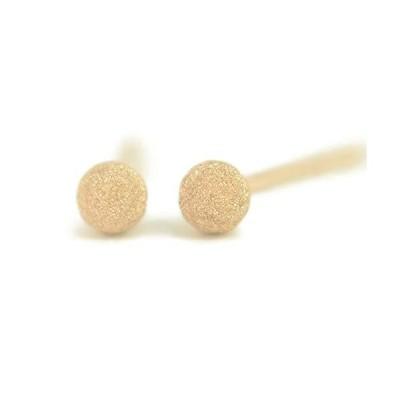 セカンドピアス 18金 軸太 K18PGピンクゴールドフラッシュボールピアス 3mm ピアス芯幅太タイプ 太さ0.9mm長さ10mm 1ペア両耳販売