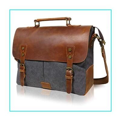 "Lifewit Leather Vintage Canvas Laptop Bag, 13""(L) x10.5(H) x 4.1""(W), Grey【並行輸入品】"