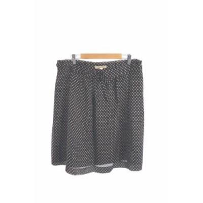 【中古】ヒューマンウーマン HUMAN WOMAN スカート ギャザー ひざ丈 総柄 2 黒 ブラック /MK レディース