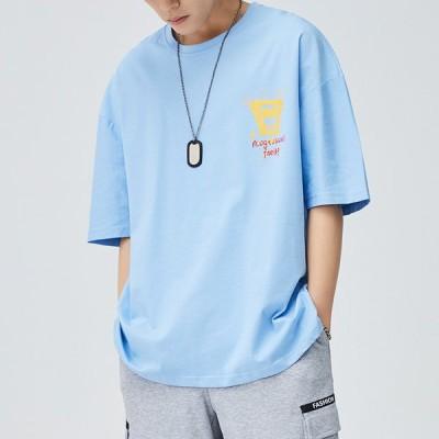 カジュアル ゆったり 夏 半袖Tシャツ メンズ クルーネック ファッション 大きいサイズ