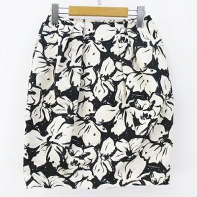 【中古】ボールジー BALLSEY トゥモローランド 花柄 膝丈 台形 スカート 34 ホワイト 白系 ブラック 黒系 日本製