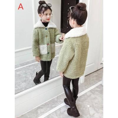 女の子 ボアジャケット フリースコート 子ども服 コート 韓国子供 フェイクファーコート ジャケット 子供用 アウター 秋冬 ロングコート 厚手 キッズコート