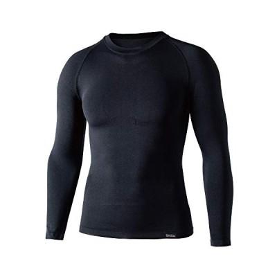 おたふく手袋 ボディータフネス デュアルクロス ロングスリーブ クルーネックシャツ ブラック S-Mサイズ JW-592