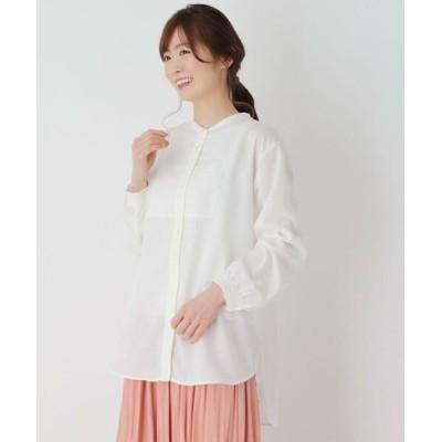 pink adobe/ピンクアドベ 【M-3L】ビブ切り替えバンドカラーシャツ アイボリー(004) 40(L)
