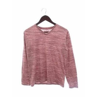 【中古】コンファーム Confirm カットソー Tシャツ ロング Vネック 総柄 長袖 M 赤 レッド /AU メンズ