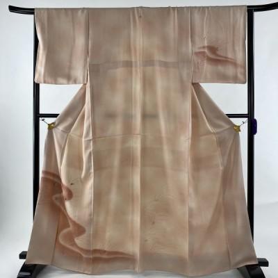 付下げ 優品 一つ紋 葉柄 流水 ぼかし 薄ピンク 袷 身丈164cm 裄丈65.5cm M 正絹 中古