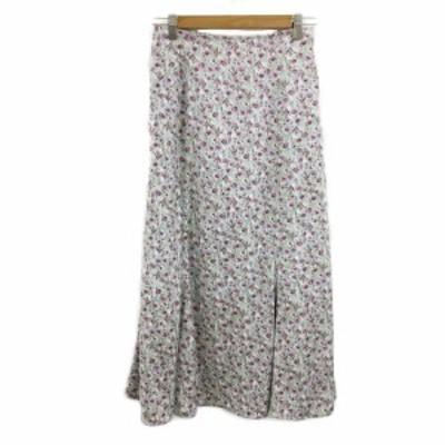【中古】ダブルクローゼット スカート フレア ロング マーメイド 花柄 F 水色 紫 ライトブルー パープル レディース
