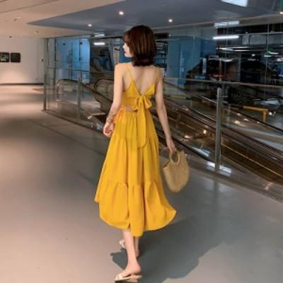 バックリボン バックコンシャス キャミソール ワンピース フリル マキシ リゾート 夏服 3段フリル 鮮やか 綺麗 可愛い ロング 楽ちん