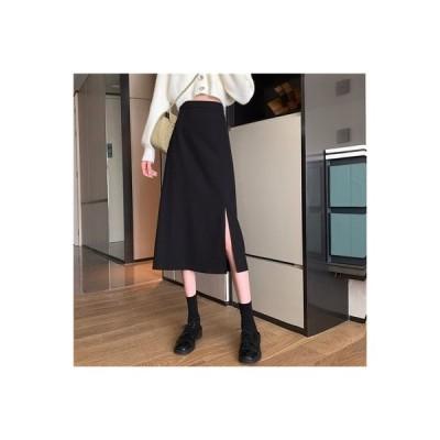 【送料無料】秋冬 気質黒 スカート 分割スカート ミディ丈 女 ハイウエスト 言 | 364331_A63906-0162603