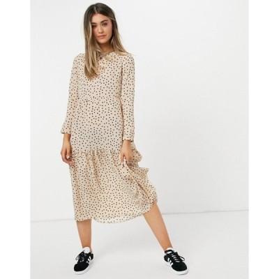 エイソス レディース ワンピース トップス ASOS DESIGN long sleeve tiered smock midi dress in beige spot