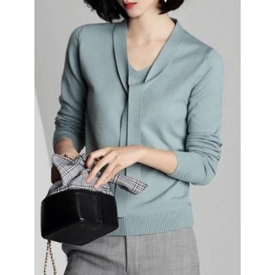 【送料無料】Vネック プルオーバー 着痩せ ファッション 合わせやすい 気質溢れる ニット