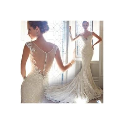 マーメイドドレス ノースリーブ Vネック ウエディングドレス レディース トレーンタイプ ブライダル 上品な 花嫁ドレス オシャレ 演奏会ドレス