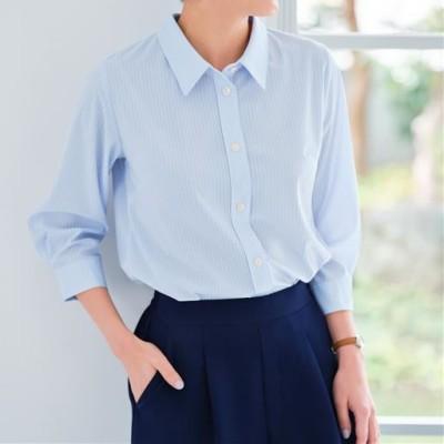 【ぽっちゃりさんサイズ】カットソーシャツ(7分袖)(UVカット・抗菌防臭・吸汗速乾) グラマーさん用サイズ有(胸のサイズで選べる)/サックス/LL