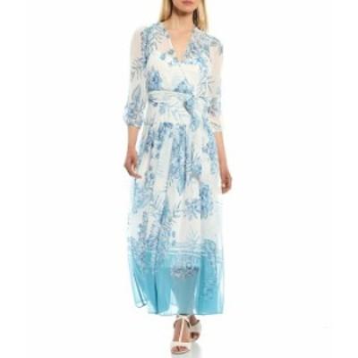 カルバンクライン レディース ワンピース トップス 3/4 Sleeve Printed Chiffon Faux Wrap Dress Mykonos Multi